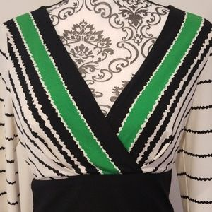 Eliza J Dresses - Eliza J Black, White and Green Print Dress